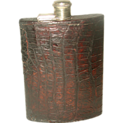 Alligator flask England 19th Century Breast Pocket Or Hip