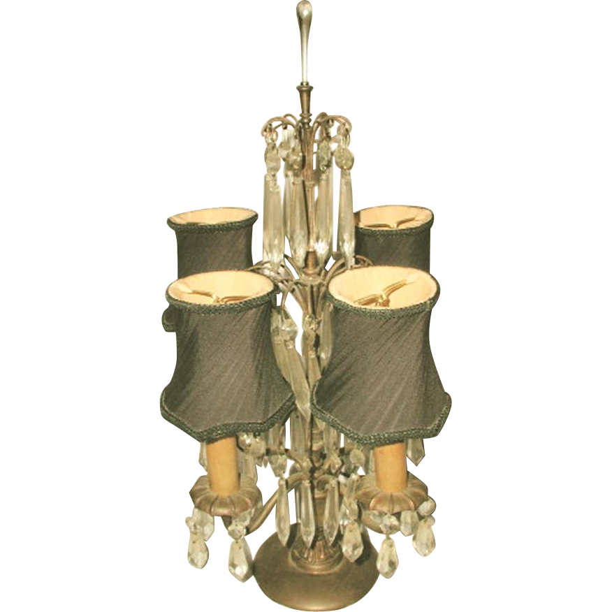 Tiered Prism Lamp French Early 1900's New Silk Shades