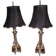 Silver Plated Lamps France Rewired New Shades Early 1900's