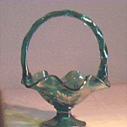 Fenton Carnival Green Glass Basket - Red Tag Sale Item