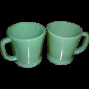 Anchor Hocking Fire King Jadite D-Handled Coffee  Mugs (3)