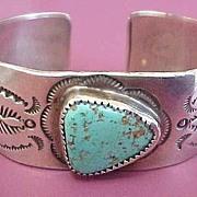 Native American Navajo Turquoise Cuff Bracelet ~ Signed M. Thomas, Jr.