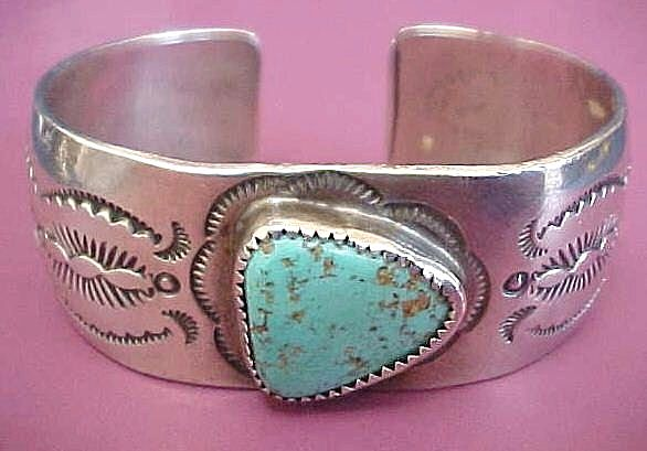 Native American Navajo Turquoise Cuff Bracelet ~ Signed M. Thomas, Jr.