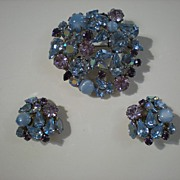 Bright Pastel Blues, Lavender & Purple Austria Demi Parure~Pin & Earrings