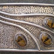 Outstanding 1960's Sterling & Cats Eye Modernist Studio Belt Buckle