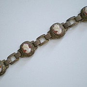 Theodor Fahrner  Sterling Silver Gilt Cameo Bracelet