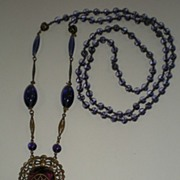 Gorgeous Purple Glass & Filigree Brass Long Necklace