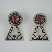 Vintage Pre-Eagle Mexican Sterling Silver Dragons Breath Screwback Dangle Earrings