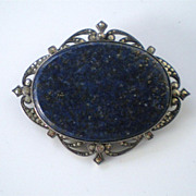 Awesome Vintage 935 European Silver Marcasite & Sodalite Brooch
