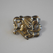 Lovely William B. Kerr Art Nouveau Sterling Silver Lady's Profile Pin/Brooch