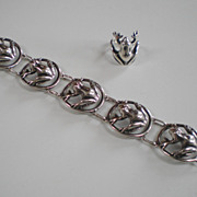 Parenti Boston Art & Crafts Sterling Silver Frog Bracelet & Ring