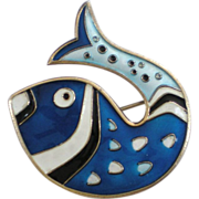 David Andersen Norway Sterling Silver Blue Enameled Fish Pin Brooch