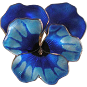 Large Vintage David Andersen Norway Sterling Silver Blue Enameled Pansy Pin