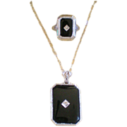 Art Deco 14K WG White Gold Matching Filigree & Onyx Ring & Pendant