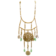 Goldette Asian Influence Faux Jade & Goldtone Necklace & Earrings
