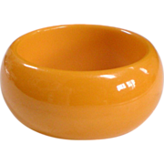 Large Chunky Vintage Bright Egg Yolk Bakelite Bangle Bracelet