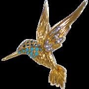 Jomaz Goldtone & Rhinestone Hummingbird Pin