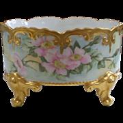 A K Limoges Klingenberg Hand Painted Footed Flower Ferner Cache Pot