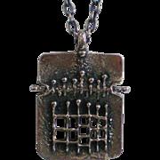 Vintage Midcentury Modern Brutalist Robert Larin Oxidized Pewter Pendant on Chain