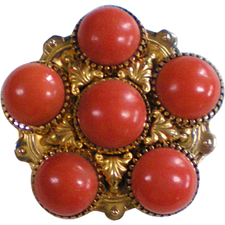 Victorian Gold Filled Etruscan Coral Pin Brooch