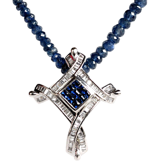 18K WG White Gold Diamond & Sapphire Pendant & Enhancer on Sapphire Bead Necklace