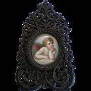 Raphael Angel Painting on Porcelain in Black Forest Fretwork Frame