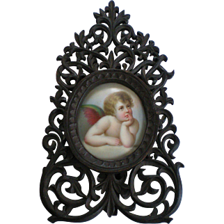 Raphael Angel Painting on Porcelain in Black Forest Fretwork Frame