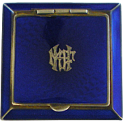 Austrian Sterling Silver Cobalt Blue Guilloche Enameled Compact