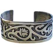 Vintage Mexican Sterling Antonio Reina AAR Cut Out Cuff Bracelet
