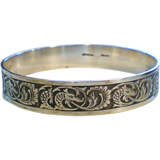 Early Napier Sterling Silver Bangle Bracelet-Griffins & Scrolls in Box
