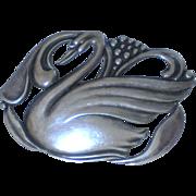 Fir. Munksgaard Denmark Danish Sterling Silver Swan Pin #365