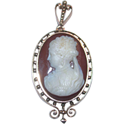 Victorian 14K Yellow Gold Carved Hardstone Carnelian Cameo Pin/Pendant/Watchpin