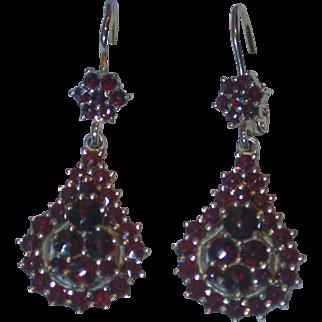 Vintage 900 Silver Bohemian Garnet Drop Earrings