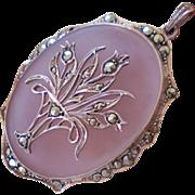 Lovely Sterling Marcasite Camphor Glass Pendant w/Flower Basket~Germany