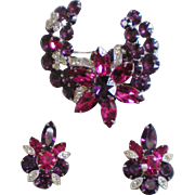 Eisenberg Ice Purple Fushia Clear Pin & Earrings Demiparure