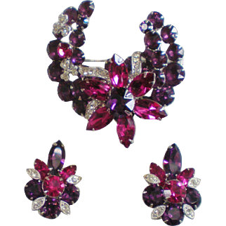 Eisenberg Ice Purple Fushia Clear Pin & Earrings Demiparure