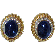 Ciner Goldtone & Faux Lapis Glass Cabochons Clip-on Earrings