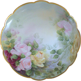 T & V Limoges Pink & Yellow Roses Charger