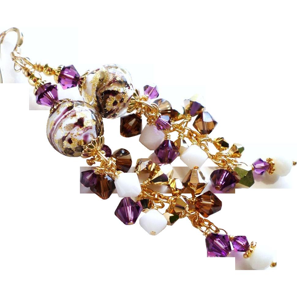 Long Venetian Glass 24KT Gold Foil Bead Earrings