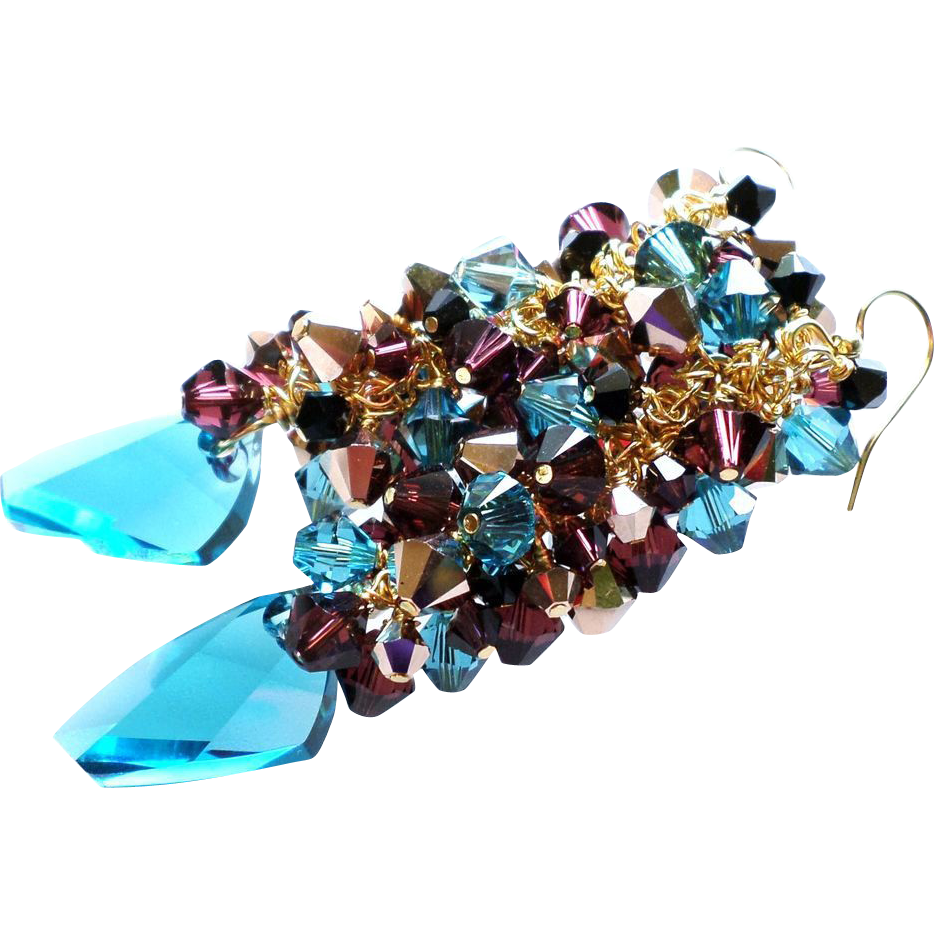Swarovski Crystal Ornate Cluster Earrings With Avant -Garde Swarovski Pendants