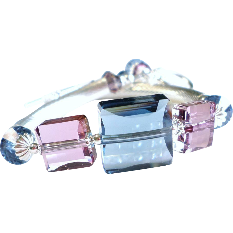 Swarovski Crystal Sterling Silver Bangle Tube Bracelet