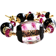 Venetian Glass 24KT Gold Foil Bracelet With Black Onyx and Swarovski crystals