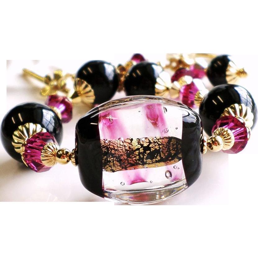 Venetian Glass 24KT Gold Foil Bracelet With Black Onyx and Swarovski crystals
