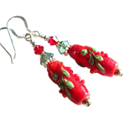 Red and Green Holiday Lampwork Earrings
