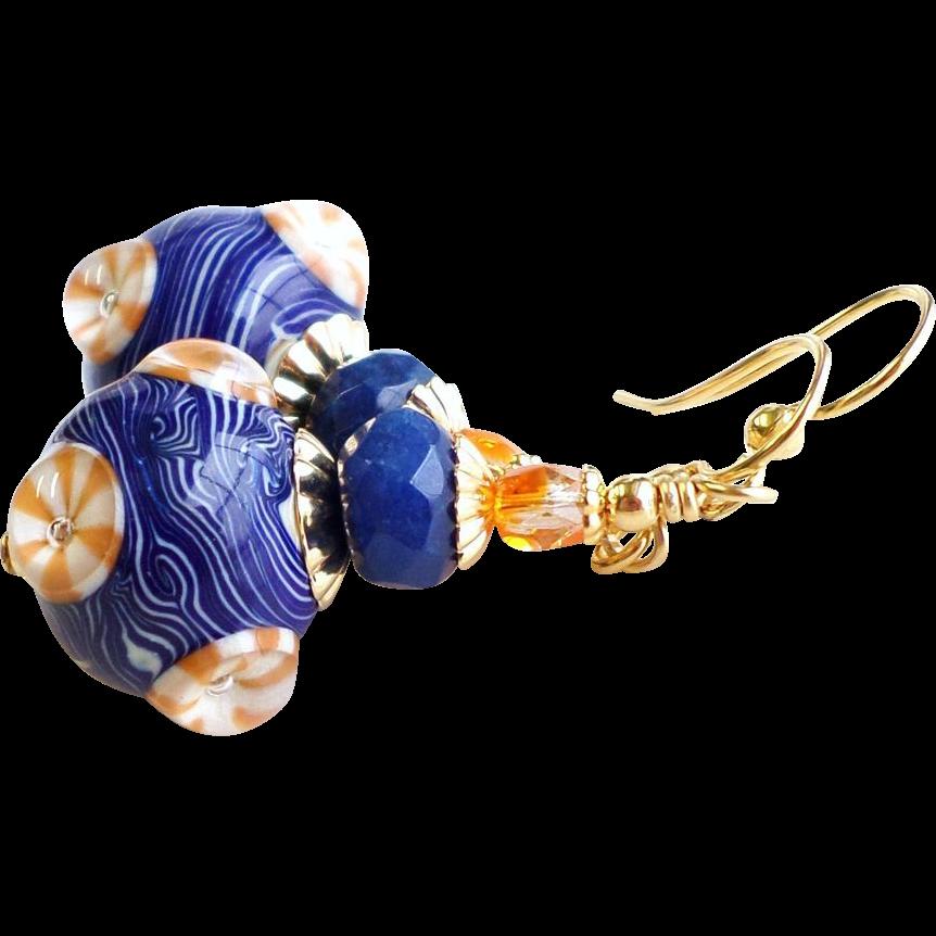 Navy Blue and Orange Lampwork Earrings