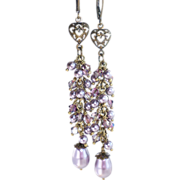 Long Mauve Swarovski Crystal and Pearl Dangle Earrings
