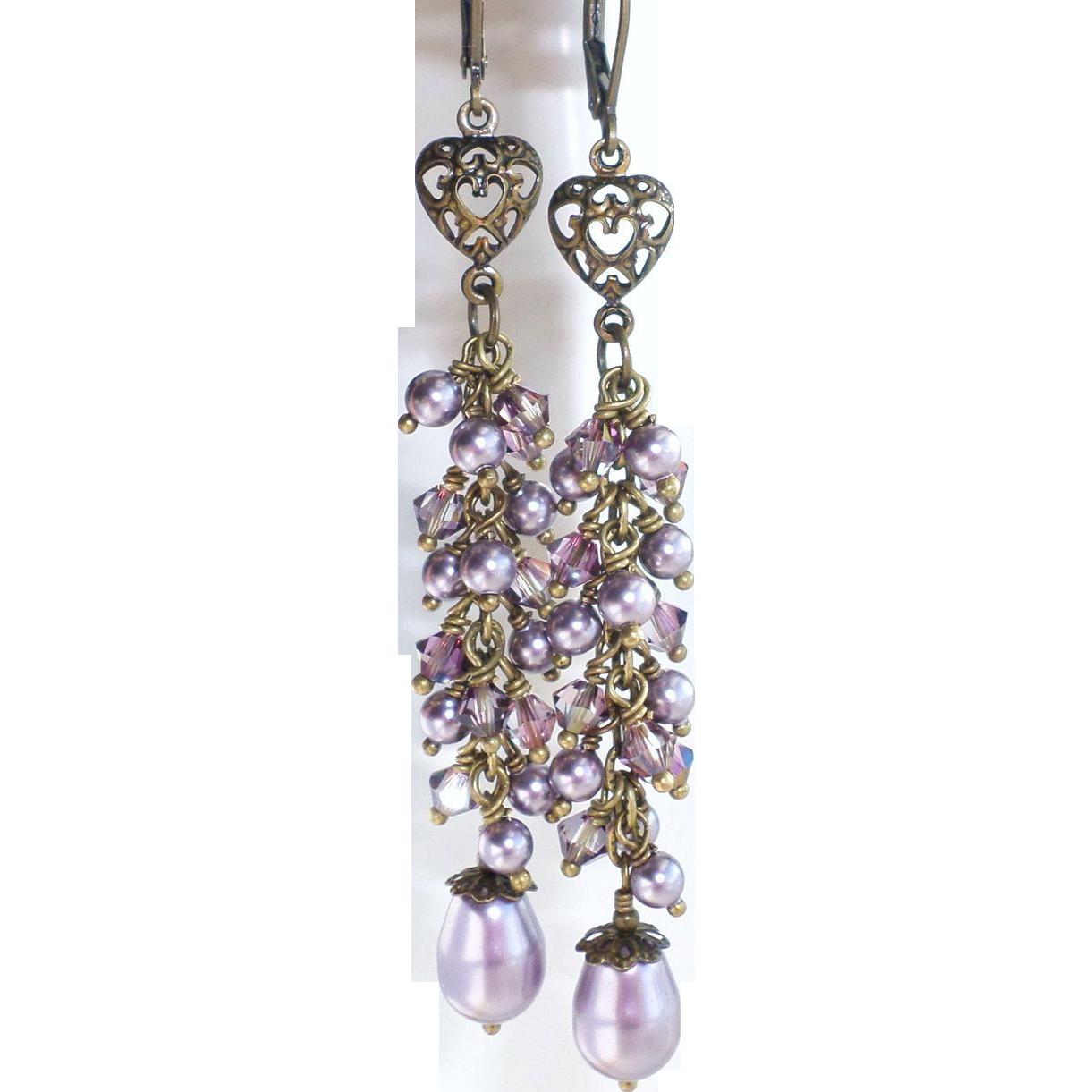 Long Mauve Swarovski Crystal and Pearl Dangle Earrings