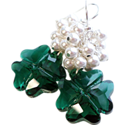 Emerald Green Swarovski Crystal Four Leaf Clover Earrings