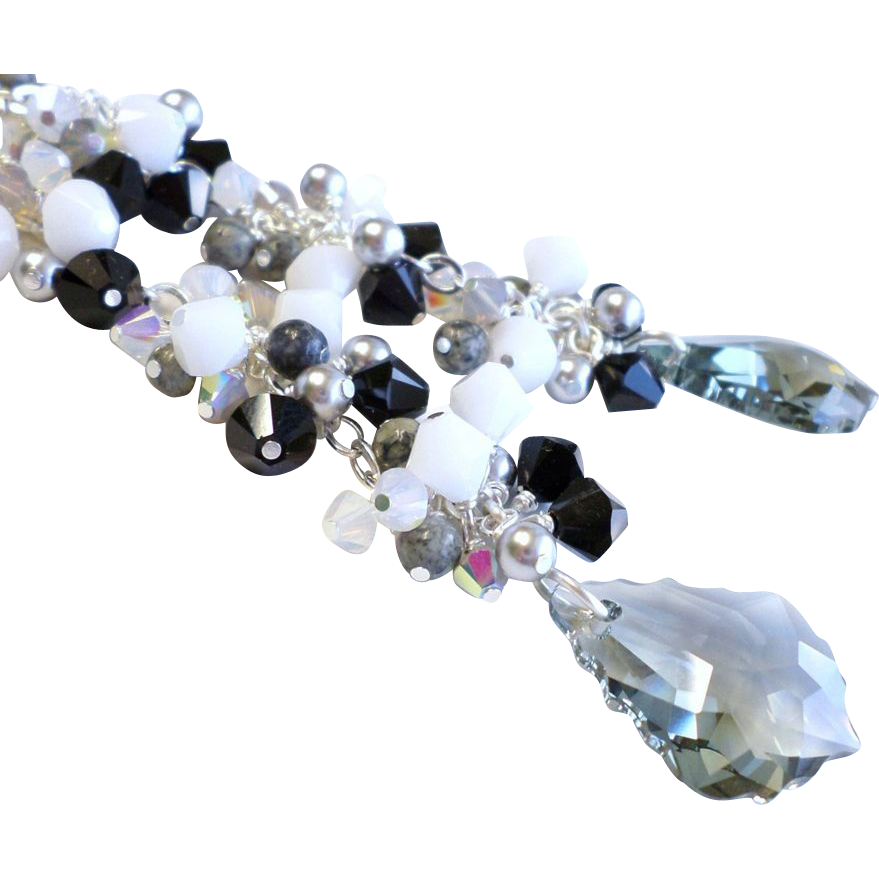 Black Diamond Colored Swarovski Crystal 4 Inch Long Dangle Cluster Earrings