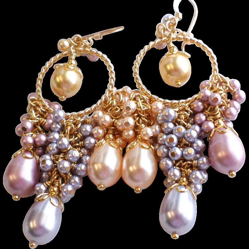 Swarovski Crystal Faux Pearl Ornate Cluster Chandelier Earrings In Pastels